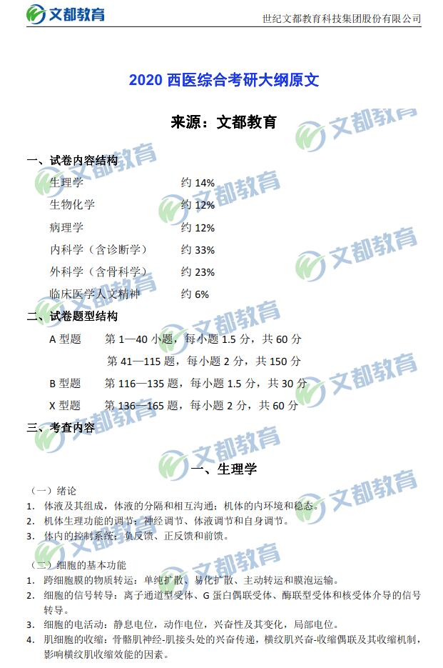 2020西医综合考研大纲原文