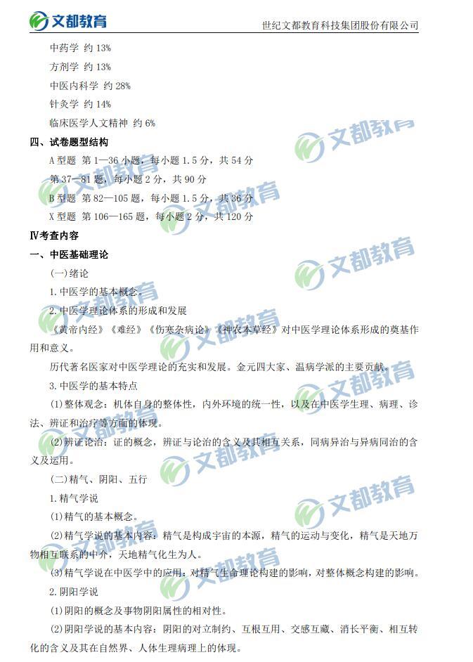 2020考研中医临综考研大纲原文
